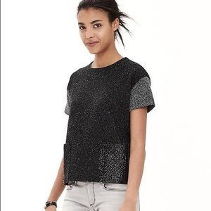 Banana Republic Herringbone Slv Sequin Pocket Top